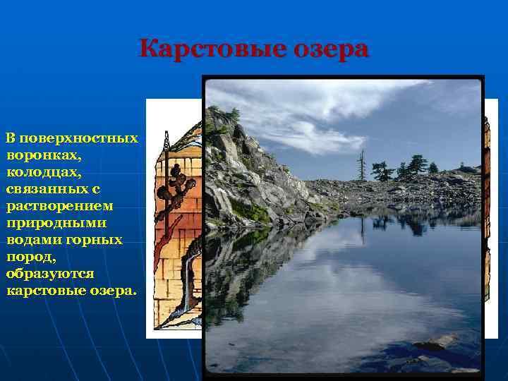 Карстовые озера В поверхностных воронках, колодцах, связанных с растворением природными водами горных пород, образуются