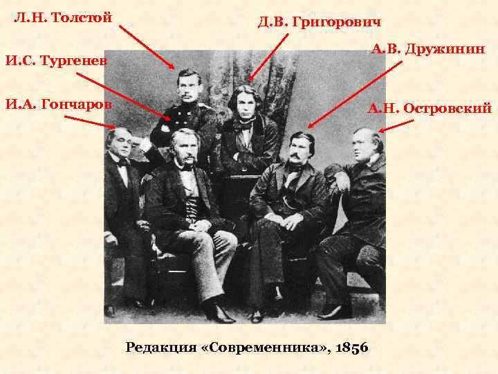 Л. Н. Толстой Д. В. Григорович А. В. Дружинин И. С. Тургенев И. А.