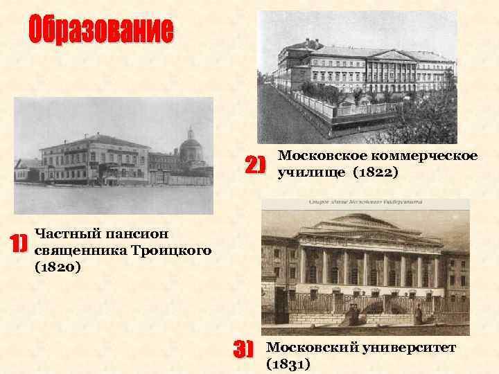 Московское коммерческое училище (1822) Частный пансион священника Троицкого (1820) Московский университет (1831)