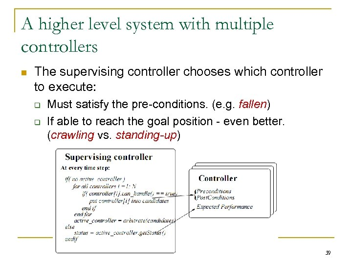 A higher level system with multiple controllers n The supervising controller chooses which controller