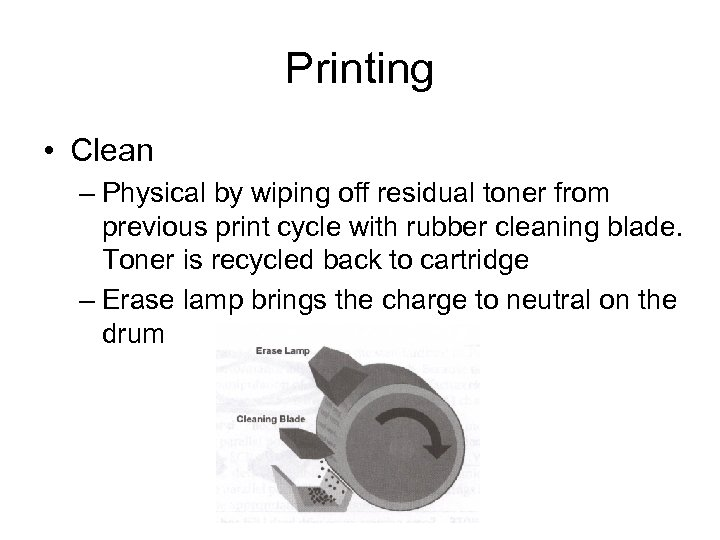 Printing • Clean – Physical by wiping off residual toner from previous print cycle