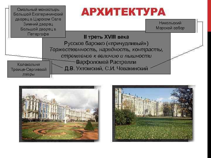 Смольный монастырь Большой Екатерининский дворец в Царском Селе Зимний дворец Большой дворец в Петергофе