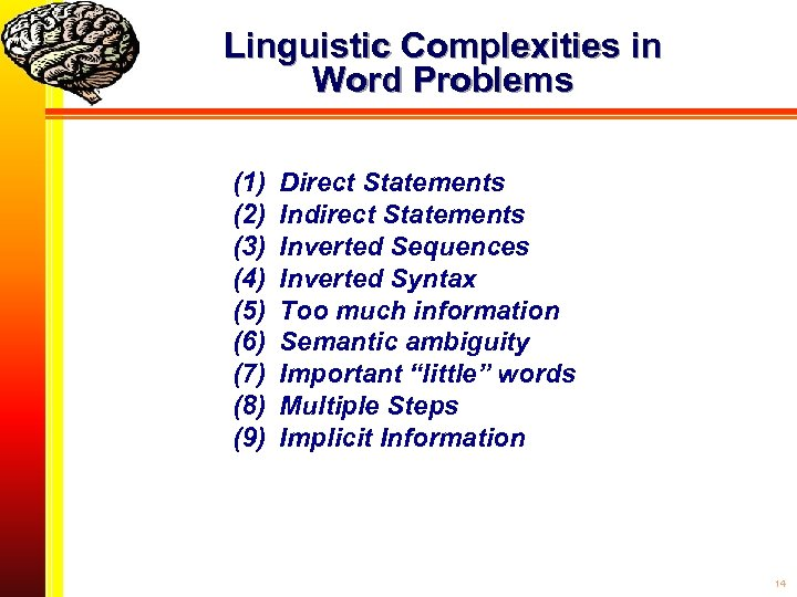 Linguistic Complexities in Word Problems (1) (2) (3) (4) (5) (6) (7) (8) (9)
