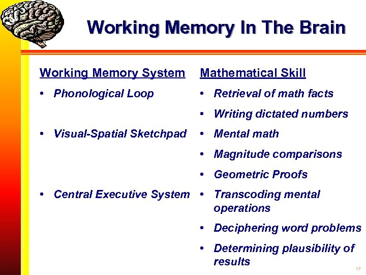 Working Memory In The Brain Working Memory System Mathematical Skill • Phonological Loop •