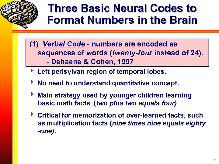 Three Basic Neural Codes to Format Numbers in the Brain (1) Verbal Code -