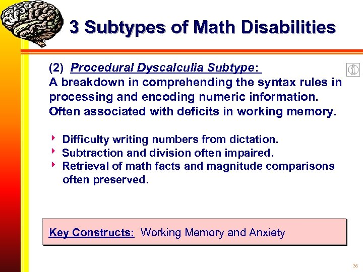 3 Subtypes of Math Disabilities (2) Procedural Dyscalculia Subtype: A breakdown in comprehending the