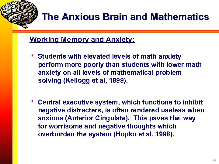 The Anxious Brain and Mathematics Working Memory and Anxiety: Students with elevated levels of