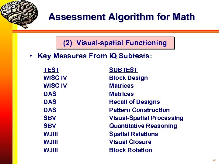 Assessment Algorithm for Math (2) Visual-spatial Functioning • Key Measures From IQ Subtests: TEST