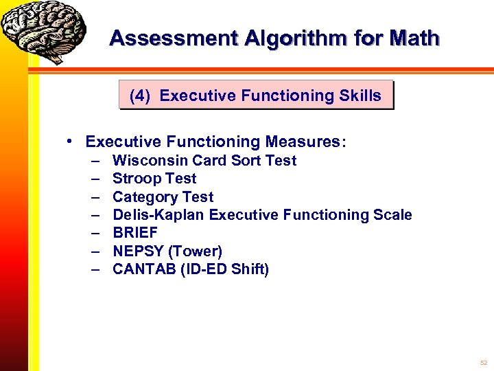 Assessment Algorithm for Math (4) Executive Functioning Skills • Executive Functioning Measures: – –