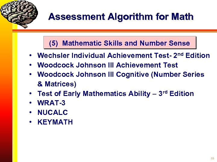 Assessment Algorithm for Math (5) Mathematic Skills and Number Sense • Wechsler Individual Achievement