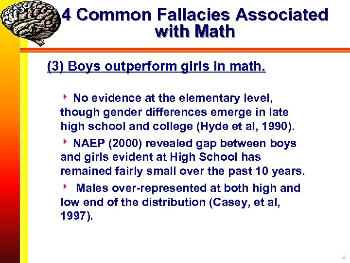 4 Common Fallacies Associated with Math (3) Boys outperform girls in math. No evidence