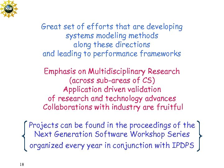 Great set of efforts that are developing systems modeling methods along these directions and