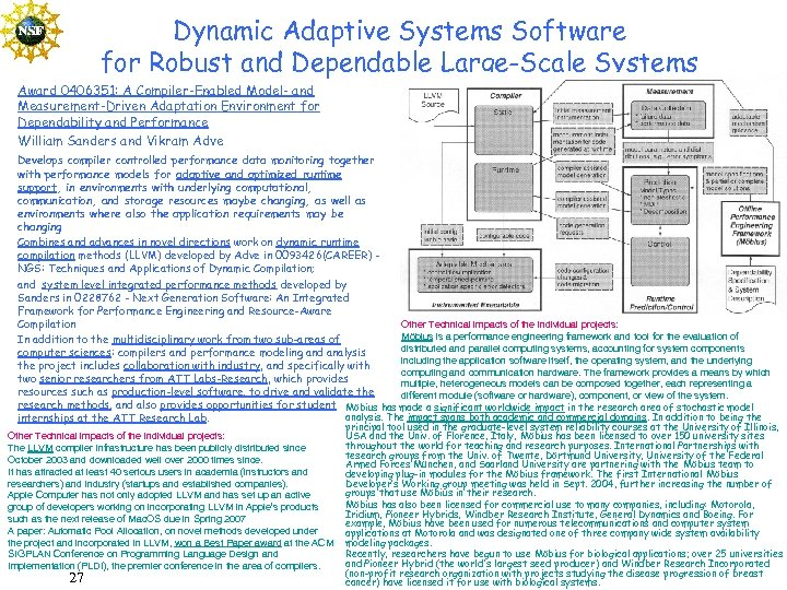 Dynamic Adaptive Systems Software for Robust and Dependable Large-Scale Systems Award 0406351: A Compiler-Enabled