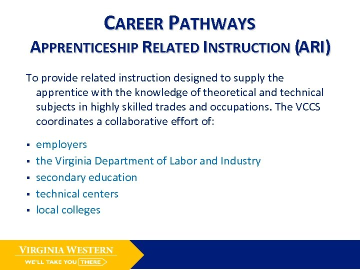 CAREER PATHWAYS APPRENTICESHIP RELATED INSTRUCTION (ARI) To provide related instruction designed to supply the