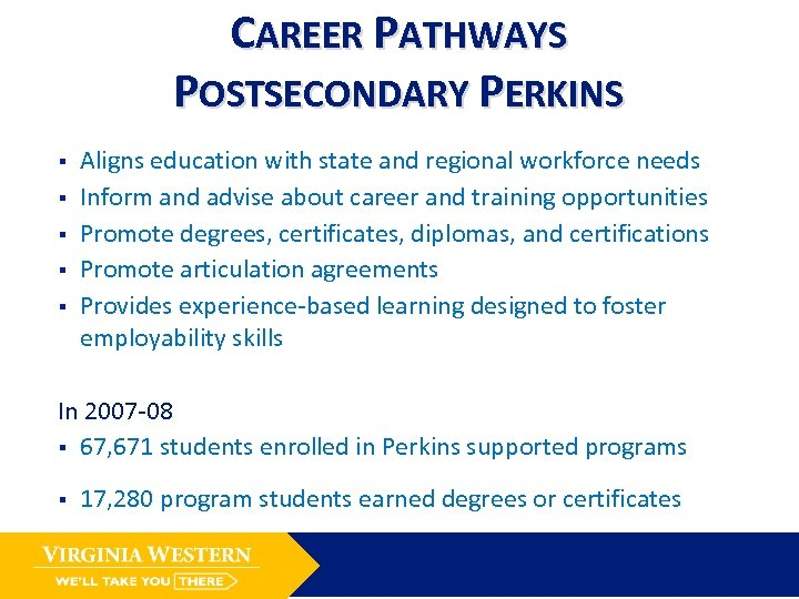 CAREER PATHWAYS POSTSECONDARY PERKINS § § § Aligns education with state and regional workforce