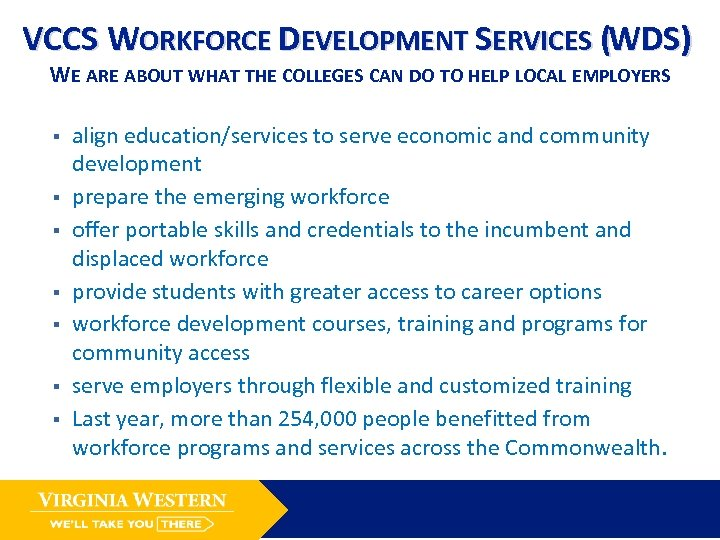 VCCS WORKFORCE DEVELOPMENT SERVICES (WDS) WE ARE ABOUT WHAT THE COLLEGES CAN DO TO