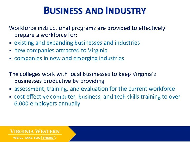 BUSINESS AND INDUSTRY Workforce instructional programs are provided to effectively prepare a workforce for:
