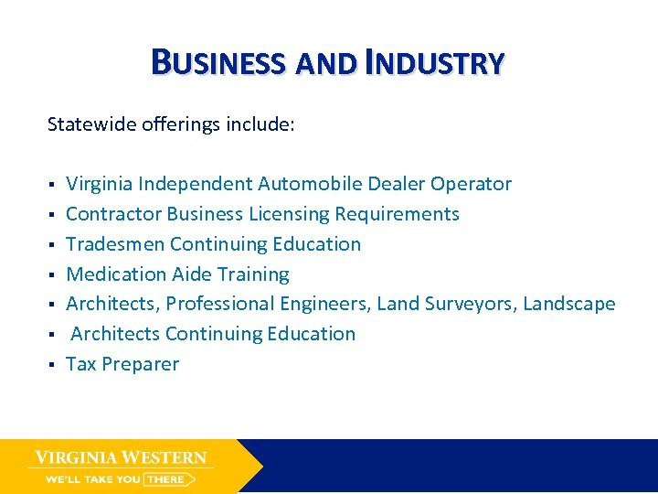 BUSINESS AND INDUSTRY Statewide offerings include: § § § § Virginia Independent Automobile Dealer