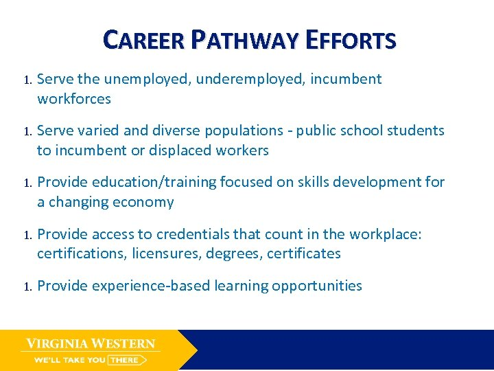 CAREER PATHWAY EFFORTS 1. Serve the unemployed, underemployed, incumbent workforces 1. Serve varied and