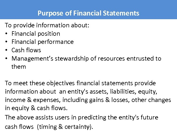 Purpose of Financial Statements To provide information about: • Financial position • Financial performance