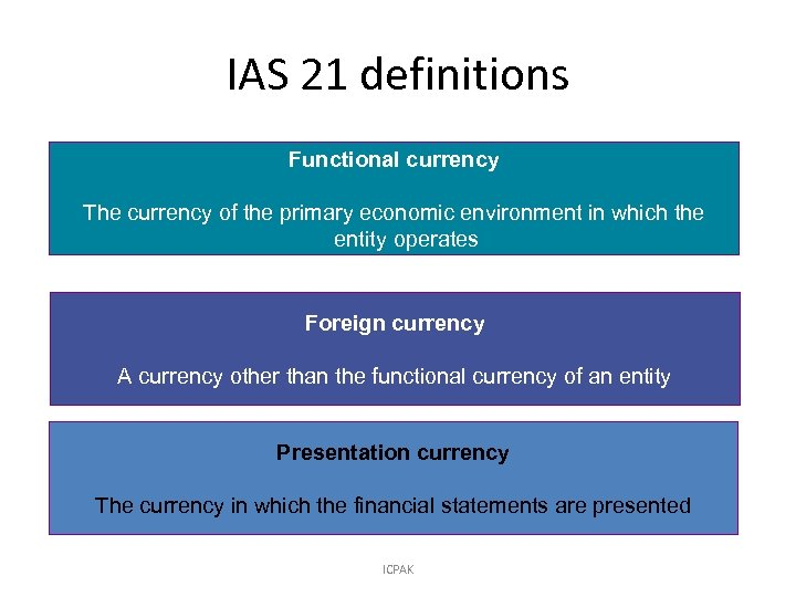 IAS 21 definitions Functional currency The currency of the primary economic environment in which