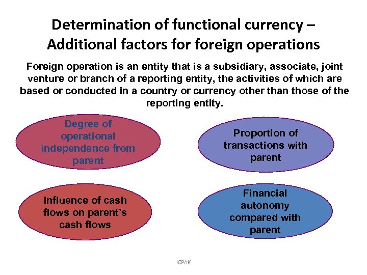 Determination of functional currency – Additional factors foreign operations Foreign operation is an entity