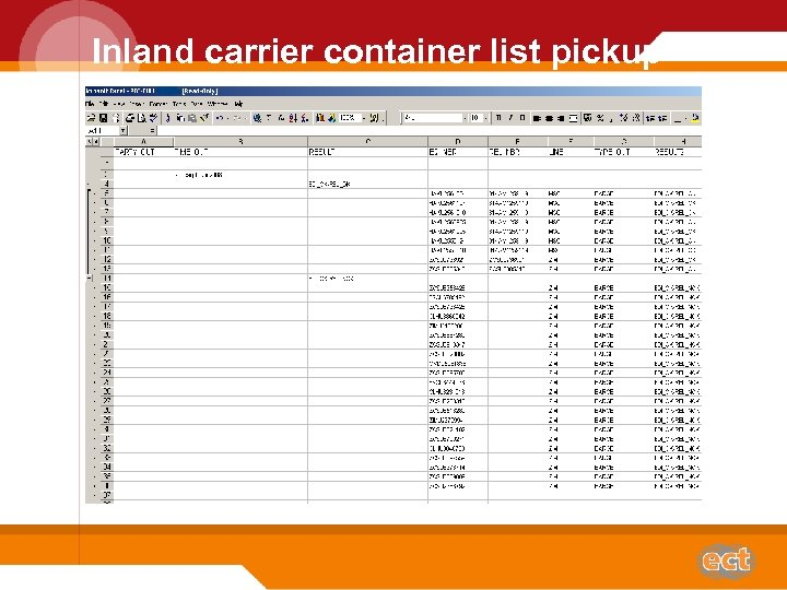 Inland carrier container list pickup Plaatje van ene pickup diagram