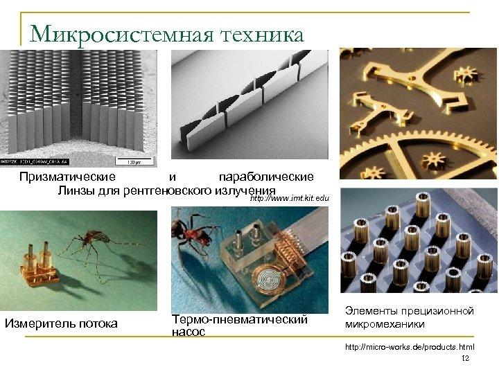 Микросистемная техника Призматические и параболические Линзы для рентгеновского излучения http: //www. imt. kit. edu