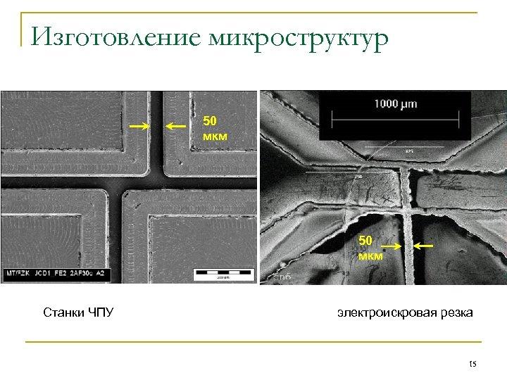 Изготовление микроструктур 50 мкм Станки ЧПУ электроискровая резка 15