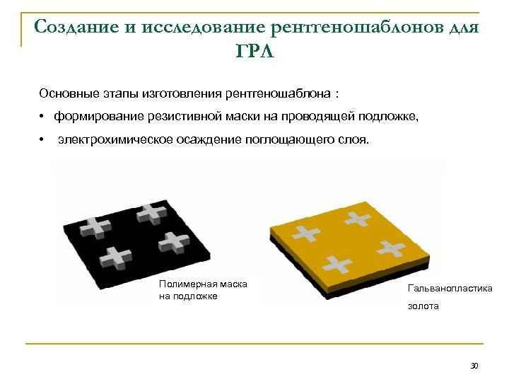 Создание и исследование рентгеношаблонов для ГРЛ Основные этапы изготовления рентгеношаблона : • формирование резистивной