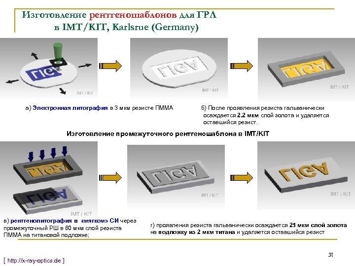 Изготовление рентгеношаблонов для ГРЛ в IMT/KIT, Karlsrue (Germany) а) Электронная литография в 3 мкм