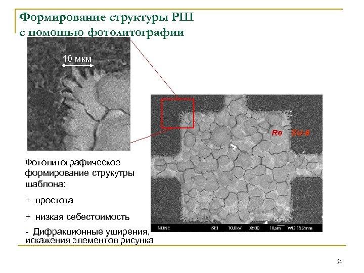 Формирование структуры РШ с помощью фотолитографии 10 мкм Re SU-8 Фотолитографическое формирование струкутры шаблона: