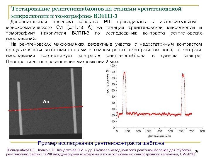 Тестирование рентгеношаблонов на станции «рентгеновской микроскопии и томографии» ВЭПП-3 пропускание % Дополнительная проверка качества