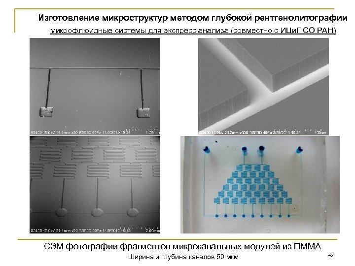 Изготовление микроструктур методом глубокой рентгенолитографии микрофлюидные системы для экспресс анализа (совместно с ИЦи. Г