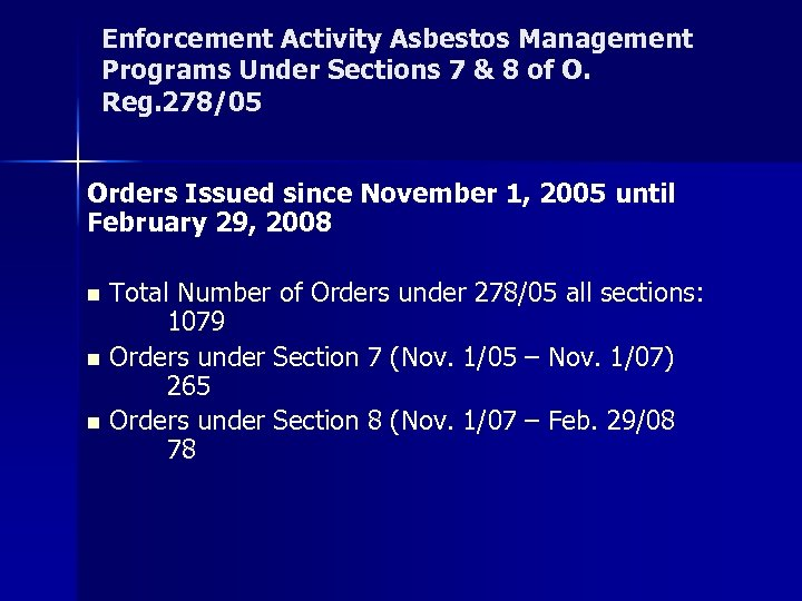 Enforcement Activity Asbestos Management Programs Under Sections 7 & 8 of O. Reg. 278/05