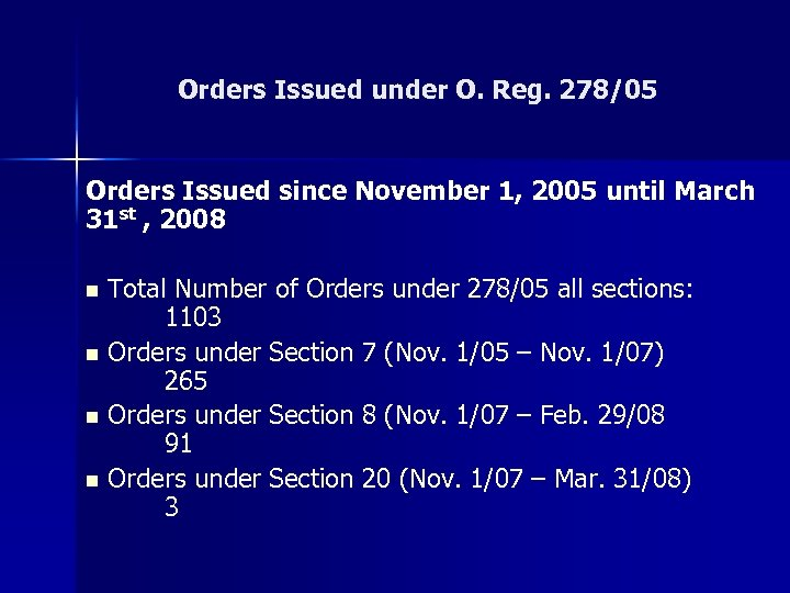 Orders Issued under O. Reg. 278/05 Orders Issued since November 1, 2005 until March