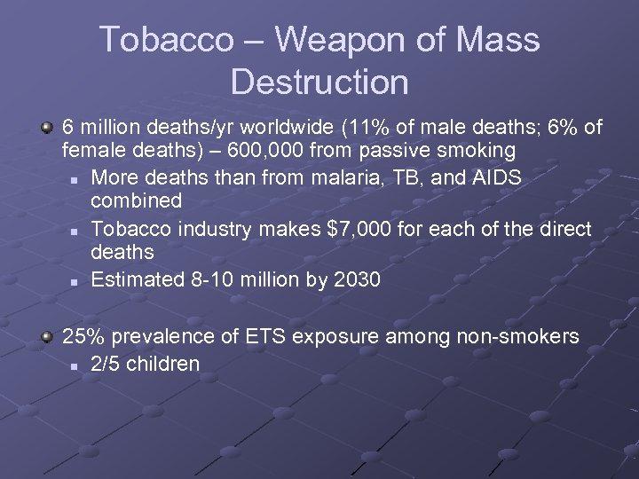 Tobacco – Weapon of Mass Destruction 6 million deaths/yr worldwide (11% of male deaths;