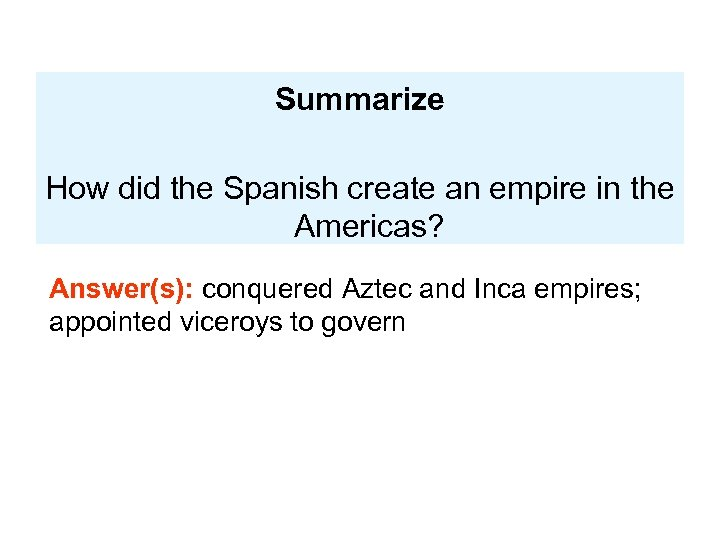 Summarize How did the Spanish create an empire in the Americas? Answer(s): conquered Aztec
