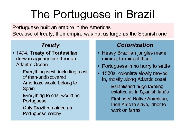 The Portuguese in Brazil Portuguese built an empire in the Americas Because of treaty,