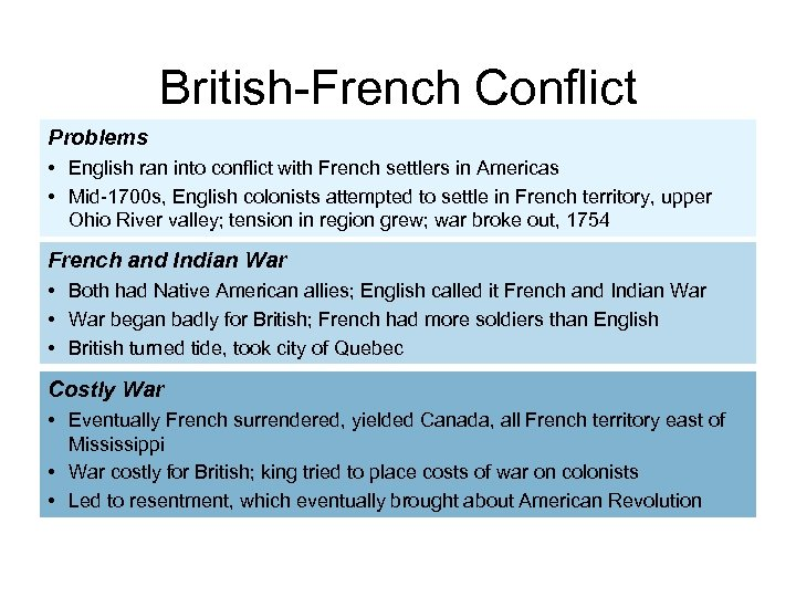 British-French Conflict Problems • English ran into conflict with French settlers in Americas •