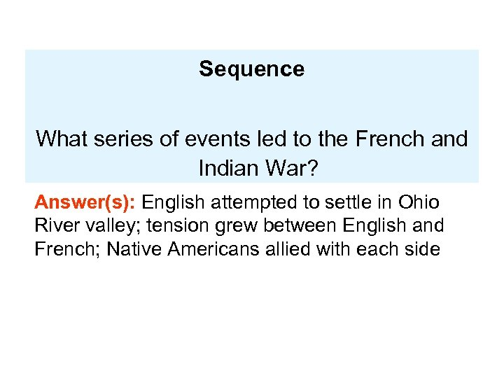 Sequence What series of events led to the French and Indian War? Answer(s): English