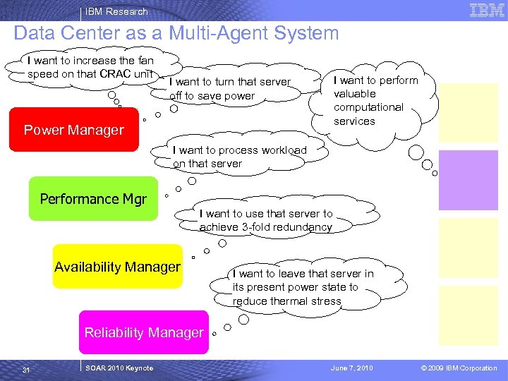 IBM Research Data Center as a Multi-Agent System I want to increase the fan