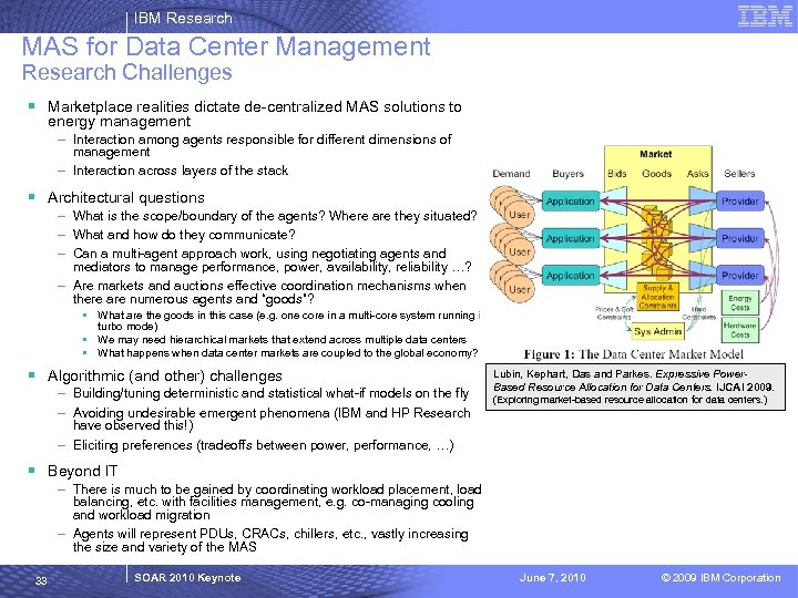IBM Research MAS for Data Center Management Research Challenges § Marketplace realities dictate de-centralized
