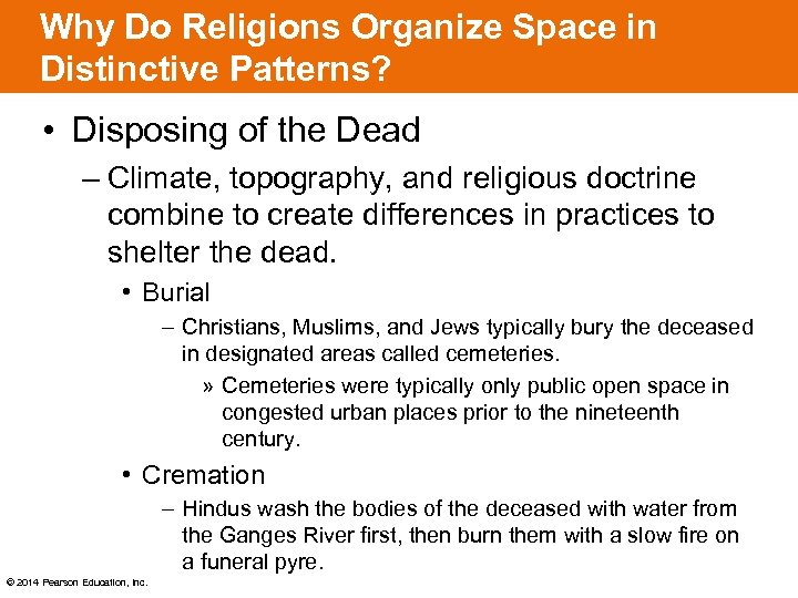 Why Do Religions Organize Space in Distinctive Patterns? • Disposing of the Dead –