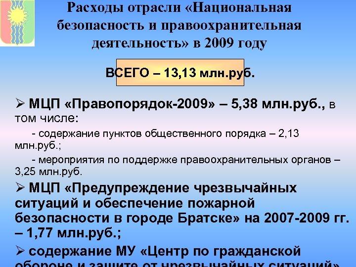 Расходы отрасли «Национальная безопасность и правоохранительная деятельность» в 2009 году ВСЕГО – 13, 13