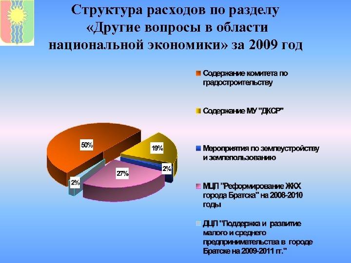 Структура расходов по разделу «Другие вопросы в области национальной экономики» за 2009 год