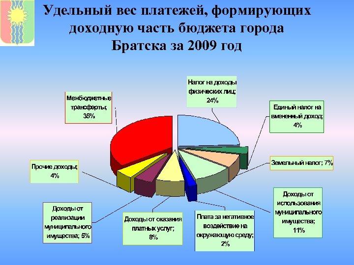Удельный вес платежей, формирующих доходную часть бюджета города Братска за 2009 год