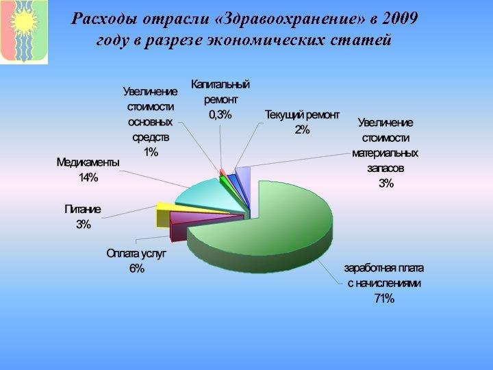 Расходы отрасли «Здравоохранение» в 2009 году в разрезе экономических статей