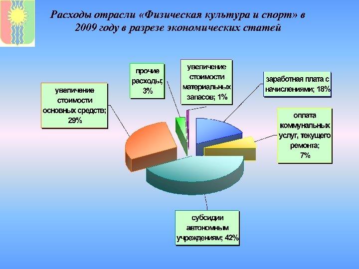 Расходы отрасли «Физическая культура и спорт» в 2009 году в разрезе экономических статей