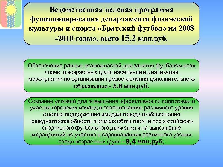 Ведомственная целевая программа функционирования департамента физической культуры и спорта «Братский футбол» на 2008 -2010